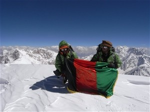 """Afghans to the Top."" Amriddin Sanger (L) and Malang Daria (R) at the summit of Noshaq in July 2009."