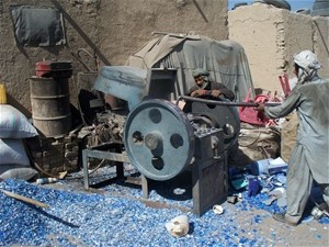 USAID-funded machinery in use at Qaderi Plastic Recycling Company.