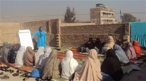A group of women elders from Behsud District, Nangarhar Province meet to discuss womens' role in dispute resolution and to form