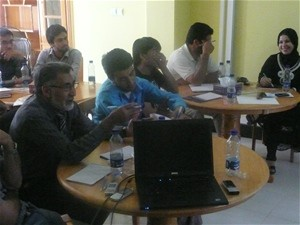 Members of the Hirat leading media take part in a media sales training workshop at the newly established Hirat Journalism Traini
