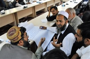 Afghan turbine manufacturers from across the country engage in group discussions during a needs assessment workshop held at the