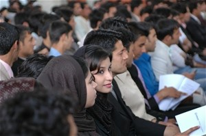 Afghan youth took part in a USAID and Afghanistan National Assembly sponsored Youth Parliamentary session in June. Nearly 90 you