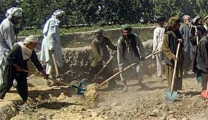 Local laborers in Arghandab, Kandahar, start construction on a rural road.