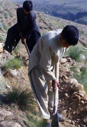 Eighteen-year-old Abdul Khaliq helps terrace a hillside in Nurguram, Nuristan Province.