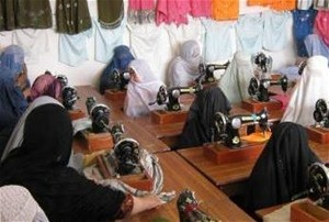 Women in Gereshk learn tailoring and embroidery skills.