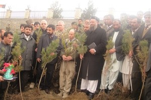 Everyone at the ceremony is given a tree to plant
