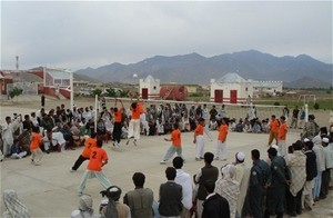 The Wardak volleyball team draws eager crowds