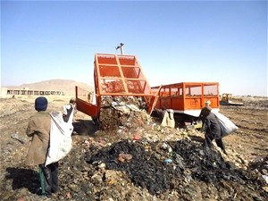 Waste is deposited at a disposal site in Kandahar city