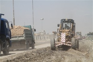 Repairing Qassaba Road, which is locally known as 'Russian Road'