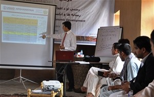 Journalists from across Afghanistan attend a USAID workshop on economic reporting