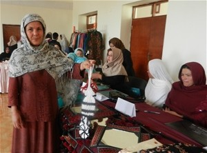 Zohra Kazimi displays her wares on the last day of the women's financing workshop in Bamyan.