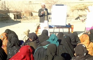 Women community leaders in Acheen district, Nangarhar province, attend a USAID workshop on inheritance law