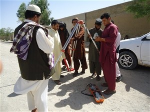 Kandahar municipality's newly recruited engineers survey a site in Kandahar City