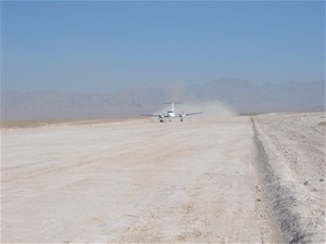 PRT Air is the first flight to take off from the newly constructed airstrip in Qalat.