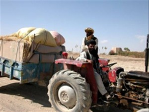 "Abdul Aquil, at the wheel of his tractor, brings crops to market on the Jaghatu to Rashidan road. ""The road increases trade betw"