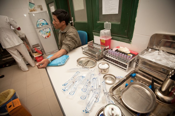 A client receives services at a district health clinic in Hai Phong.