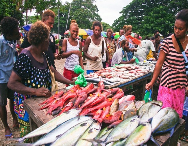 Surveyors for the Solomon Islands' Ministry of Fisheries and Marine Resources interview vendors at a fish market in the capital