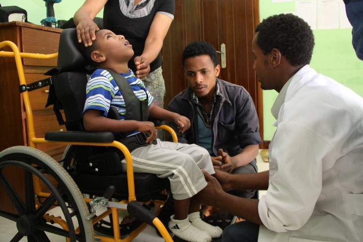 Four-year-old Bahiru in his new wheelchair.
