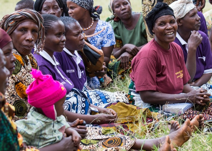 Women gather at a USAID-supported village savings and lending group.