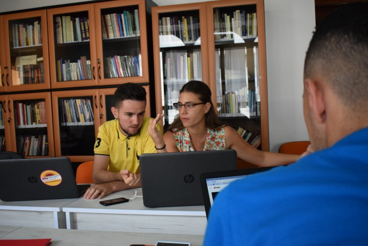 Merxhan Daci, left, and Anxela Ruci at the Faktoje office.