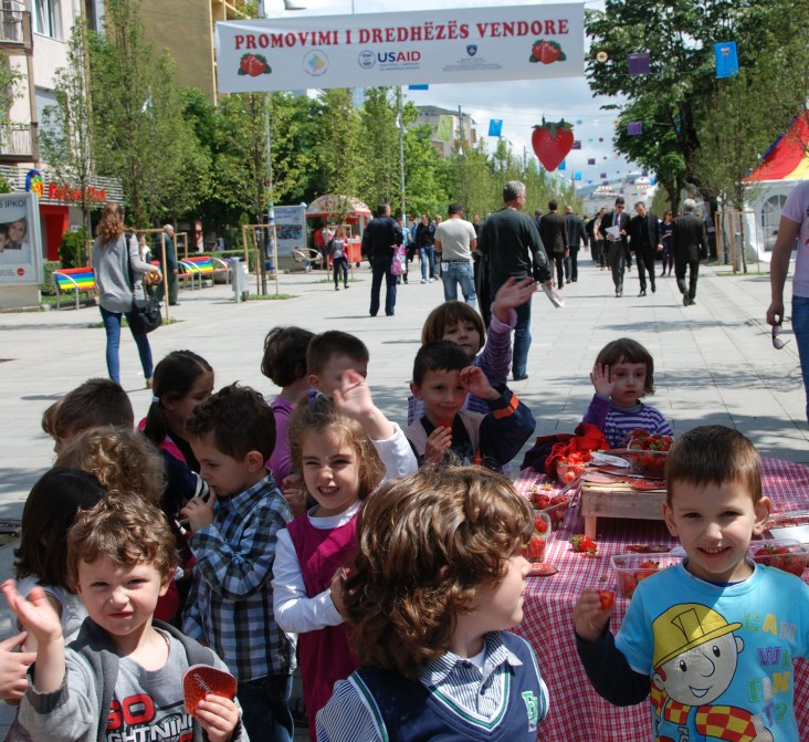 The strawberry promotion was a hit with school children from all over Pristina, who visited the event.