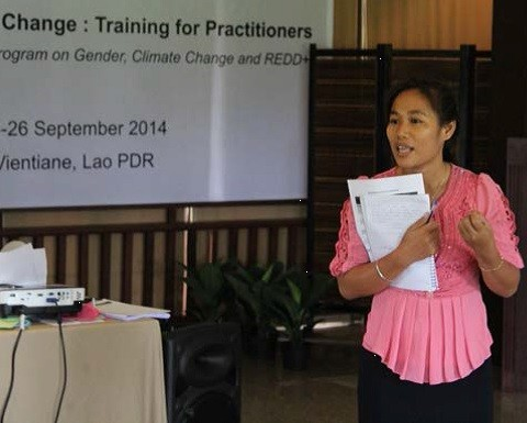 Chinneth Cheng speaks at an Equality in Climate Change training in Vientiane, Laos.
