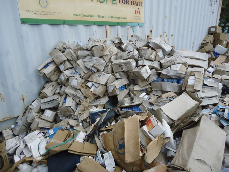 BEFORE: Example of how pharmaceutical waste was being stored prior to SCMS activities.
