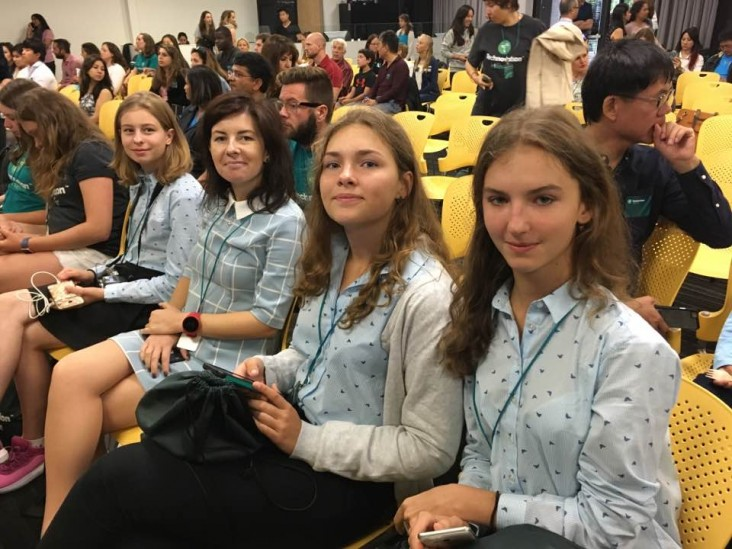 Z-Teen,Ukraine's visiting team, at the Technovation Global Pitch Event 2017 to showcase its AirNear app.