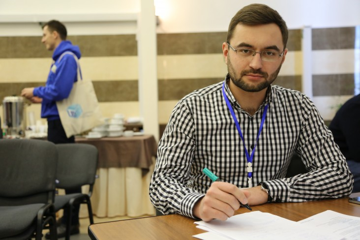 Vasyl Telep at the USAID youth leadership school DOBRE-LID (Leadership, Ideas, Democracy) in Kyiv in February 2018.