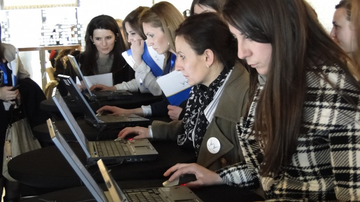 Participants of the Week of Women fill in their evaluation forms online