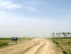 Buses and trucks had a difficult time driving on the rough road between Ghazni in Ghazni Province and Sharan in Paktika Province