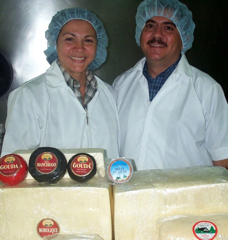 Dairy co-owners Ulises and Martha with their cheeses
