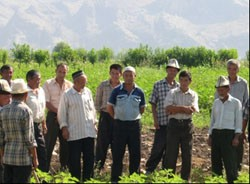 Representatives of the village of Shaidan's rural council and the local water user association council discuss land distri
