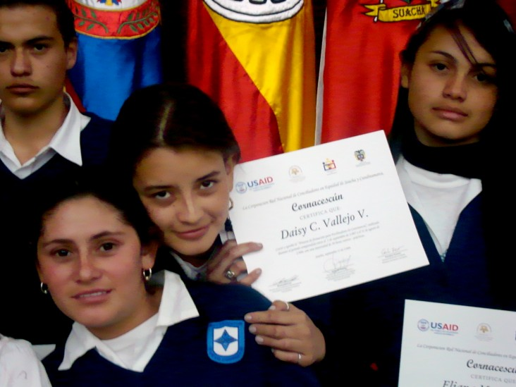 Several youth mediators receive their diploma after USAID-supported conciliator training.
