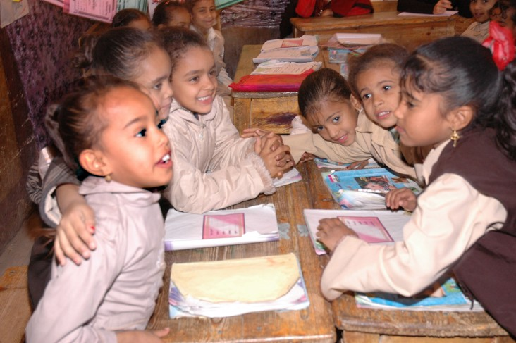 Girls at desks in an Egyptian primary school