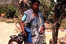 Mira Sunar poses with her new bicycle.