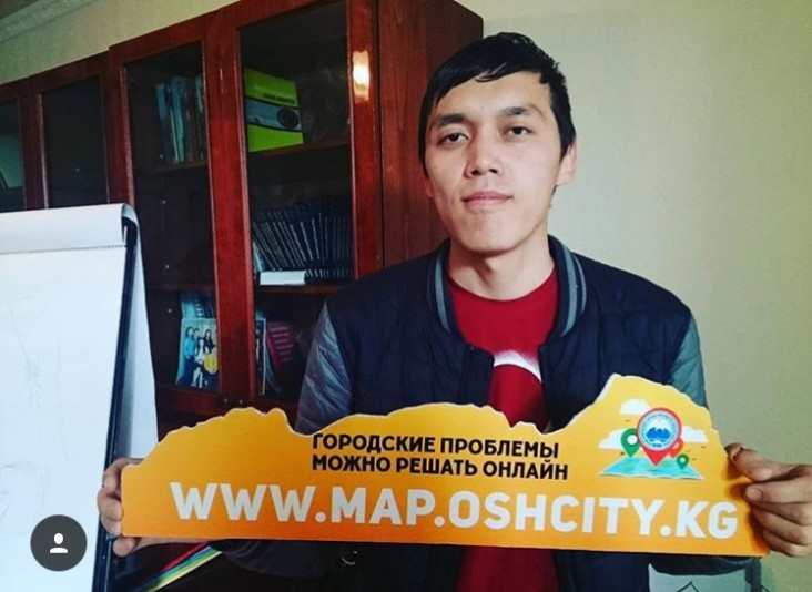 Nurkaly Tolubaev helps to improve Osh by reporting various issues.