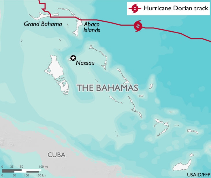Map of the Bahamas, which includes a graphic representation of Hurricane Dorian's path