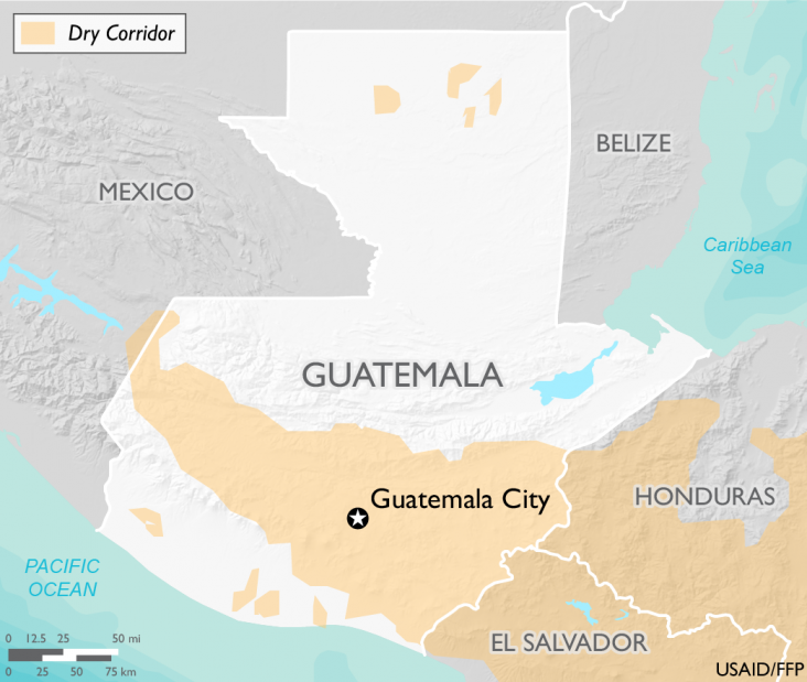 Map of Guatemala and Central American Dry Corridor