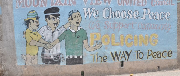 A mural painted by the citizens of the Mountain View community shows their partnership and support for the Jamaica Constabulary