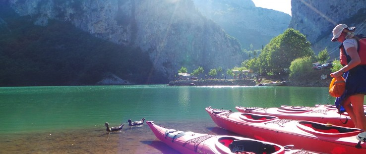 Journalists kayaked on Lake Shkopet in northern Albania during Adventure Tourism Week in 2014.