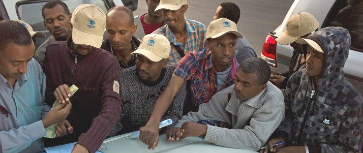In Bishoftu, dozens of mappers, surveying almost 600,000 people in Ethiopia for trachoma, meet before heading out.