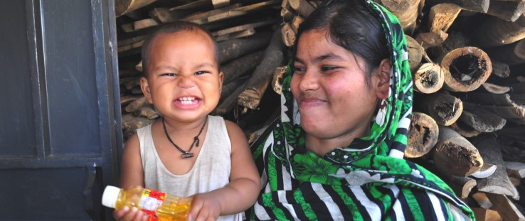 A mother with her toddler in Jospur village, northern Bangladesh.