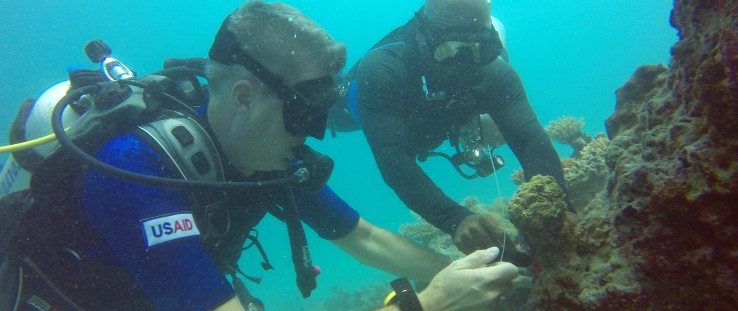 "Volunteer ""citizen-scientists"" in Maldives monitor marine biodiversity."