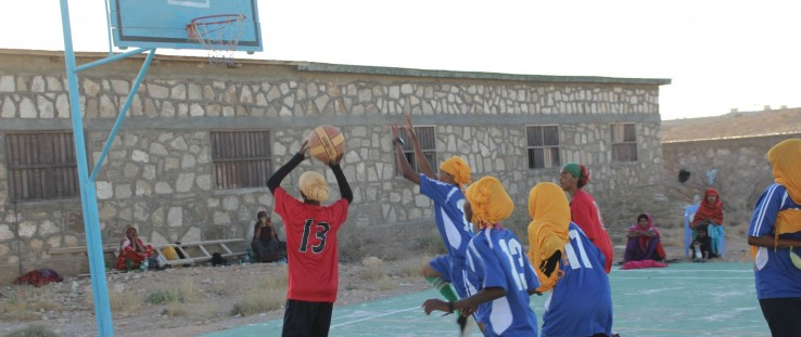 Girls practice their game during basketball camp in Garowe.
