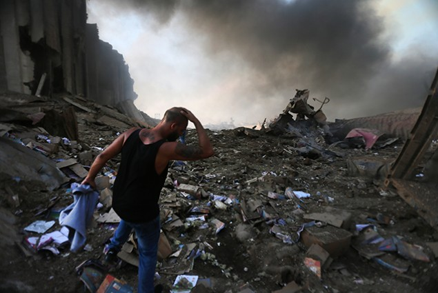 A picture shows the scene of an explosion at the port in the Lebanese capital Beirut on August 4, 2020.