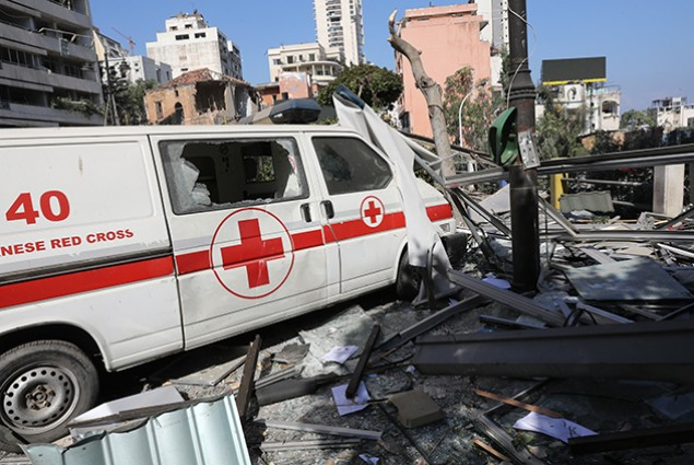 An emergency command vehicle of the Lebanese Red Cross is pictured in the aftermath of the August 5 blast that tore through Lebanon's capital