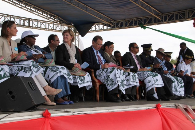 US Ambassador Robert Yamate, Health Minister Prof. Andriamanarivo, and PMI deputy Coordinator Dr. Nahlen in attendance