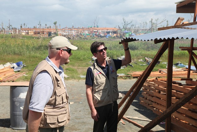 DAA Greg Beck with OFDA's Ben Hemingway assessing reconstruction efforts