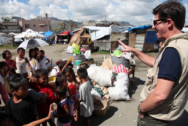 DAA Greg Beck greets the children of Typhoon Yolanda/Haiyan affected families